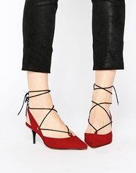 London Rebel Sprite Ghillie Lace Point Mid Heeled Shoes Red