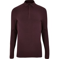 River Island Mens Maroon Muscle Fit Polo Top
