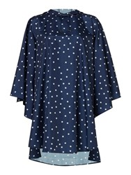 Dickins And Jones Star Print Poncho Pac A Mac Navy