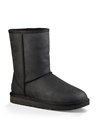 Ugg Classic Short Leather And Sheepskin Booties Black