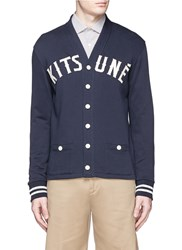 Maison Kitsune Logo Applique Cotton Fleece Cardigan Blue