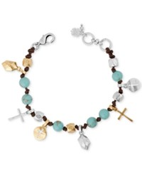 Lucky Brand Two Tone Beaded Leather Cross Charm Bracelet Silver Gold