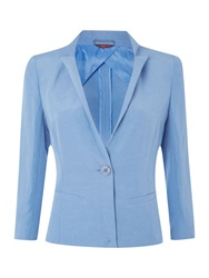 Max Mara Rosita Cropped Button Linen Blazer Blue