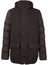 Herno Knitted Panel Padded Coat Brown