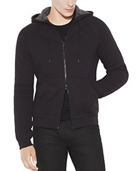 John Varvatos Star Usaf Fleece Lined Zip Front Hoodie Sweatshirt Black