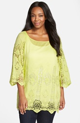 Xcvi 'Kensington' Embroidered Lace Cotton And Silk Voile Tunic Plus Size Lime Zest