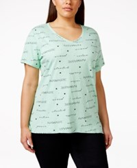 Styleandco. Style And Co. Plus Size Paisley V Neck T Shirt Fresh Mint