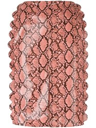 Fleamadonna Scalloped Snakeskin Effect Skirt Pink Purple