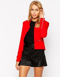 Glamorous Lightweight Blazer With Zips Red