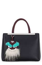 Fendi 'Petite 2Jours' Leather Shopper With Genuine Mink Fur And Genuine Fox Fur Monster Charm