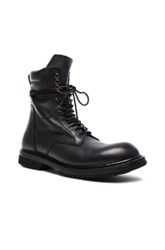 Rick Owens Low Leather Army Boots In Black