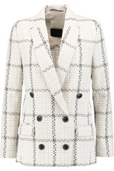 By Malene Birger Cacci Double Breasted Boucle Tweed Blazer Off White