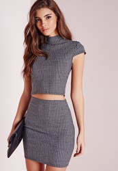 Missguided Ribbed High Neck Cap Sleeve Crop Top Grey Grey