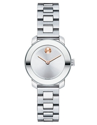 Movado Bold Ladies Stainless Steel Bracelet Watch With Rose Gold Tone Dot