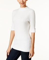 Styleandco. Style Co. Petite Ribbed Mock Neck Sweater Only At Macy's Winter White