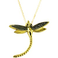 London Road 9Ct Yellow Gold Kew Bugs Diamond Detail Dragonfly Pendant Necklace Gold