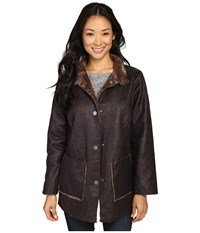 Dylan By True Grit Easy Rider Vintage Faux Leather Reversible Coat W Snap Closure And Pockets Sienna Women's Coat Brown