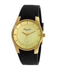 Kenneth Cole Stainless Steel Faux Leather Band Watch 0108 10027722 Gold