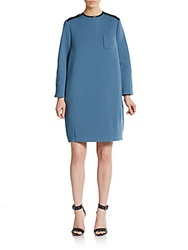 M Missoni Tonal Stripe Faux Leather Trimmed Shift Dress Blue