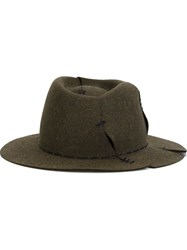 Maison Michel 'Andre' Hat With Stitching Details Green