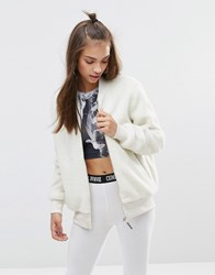 Criminal Damage Bear Reversible Bomber Jacket Cream