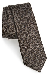 Calibrate Men's 'Fine Botanical' Print Silk Tie Black
