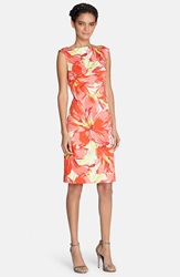 Tahari Floral Print Cotton Sheath Dress Regular And Petite Poppy Red