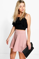 Boohoo Panelled Scuba Fit And Flare Skater Skirt Rose