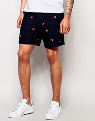 Farah Chino Short With Scattered Print Navy