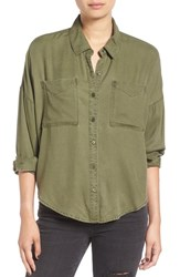 Women's Bp. Slouchy Button Front Shirt Olive Sarma
