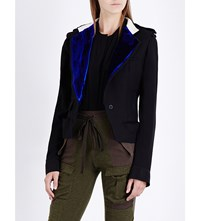 Haider Ackermann Military Velvet Trim Fleece Wool Waistcoat Black