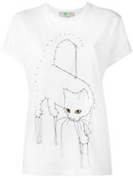 Stella Mccartney Embroidered Cat T Shirt White