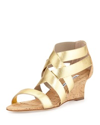 Manolo Blahnik Glassa Strappy Metallic Cork Wedge Sandal Gold