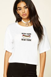 Forever 21 New York Hot Dog Graphic Tee White