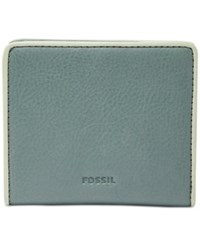 Fossil Emma Rfid Leather Bifold Mini Wallet Arctic Mist