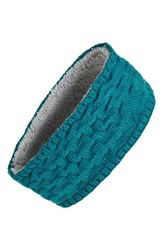 Women's Echo Braid Knit Headband With Fleece Lining Blue Dusk