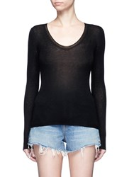 Alexander Wang Scoop Neck Rib Knit Long Sleeve Top Black
