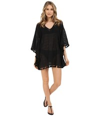 San Diego Hat Company Bst1634 Sheer Crochet V Neck Deep V Back Beach Tunic With Fringed Hem Black Women's Blouse