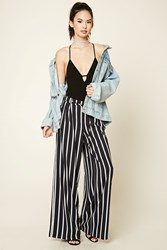 Forever 21 Striped Palazzo Pants Navy Cream