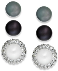 Honora Style Cultured Freshwater Pearl 8Mm And Crystal Stud Earring Trio In Sterling Silver No Color