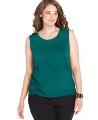 August Silk Plus Size Sleeveless Shell Peacock Green
