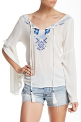 Angie Tassel Embroidered Blouse White