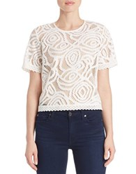 Guess Embroidered Lace Keyhole Back Top White