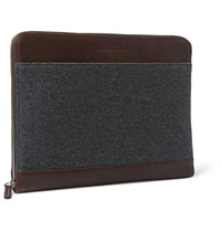 Leather And Flannel Document Case Gray