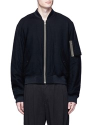 Haider Ackermann Padded Fleece Wool Bomber Jacket Black