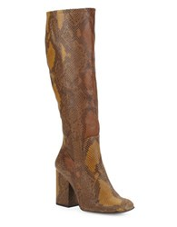 Free People High Ground Knee High Snake Embossed Leather Boots Tan
