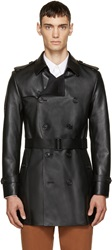Burberry Black Leather Sandwell Trench Coat