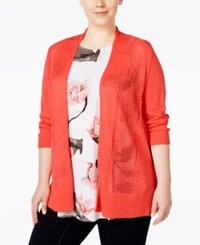Alfani Plus Size Multi Stitch Textured Cardigan Only At Macy's Coral Blast
