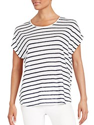 Vince Striped Linen Dolman Tee Coastal Off White