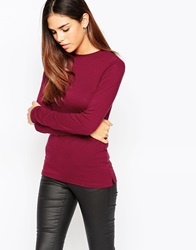 Warehouse Crew Neck Long Sleeve Top Berry